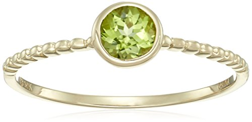 10k Yellow Gold Peridot Solitaire Beaded Shank Stackable Ring, Size 7