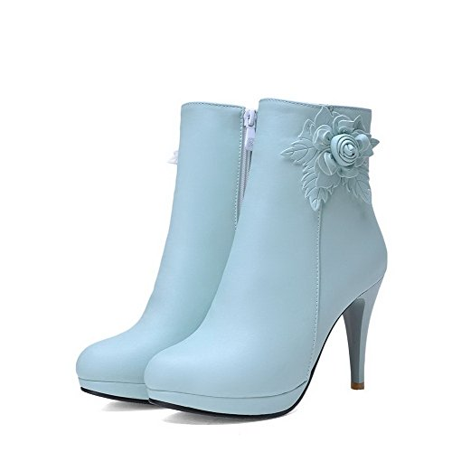 Closed Blue Toe Heels Round AmoonyFashion Material Zipper Solid Boots Soft Women's High 4qwPX6