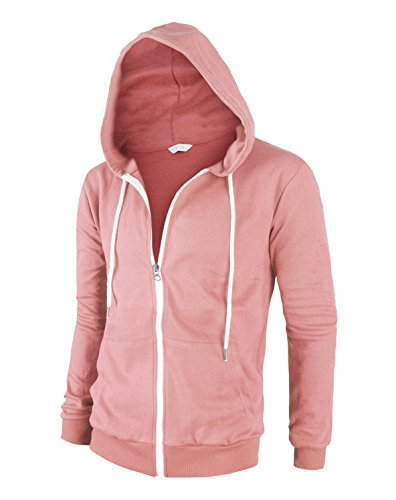 Tov Nine Mens Cotton Lightweight Slim Fit Pocket Zip-Up Hoodie Jacket Pink L