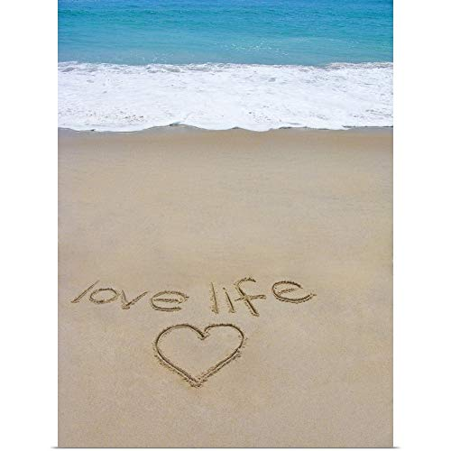 GREATBIGCANVAS Poster Print Entitled Beach on Fire Island, NY with The Words 'Love Life' Written in The Sand by 30