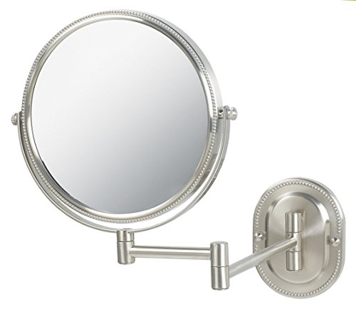 Jerdon JP7507NB 8-Inch Wall Mount Makeup Mirror with 7x Magnification, Nickel Beaded -
