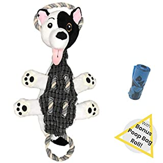 Pacific Pups Products Plush Dog Toy with SQUEAKERS, STUFFINGLESS Crinkle Dog Toys Squeaky for Large Dogs, No Stuffing Squeaky Dog Toys, Indestructible Dog Tug Toy with Crinkle, Plush Dog Toy Squeaky