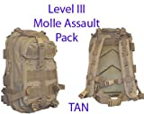 Level III Lv3 Molle Assault Pack Backpack–TAN, Outdoor Stuffs