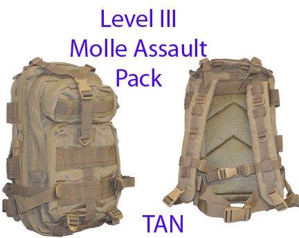 Level III Lv3 Molle Assault Pack Backpack–TAN, Outdoor Stuffs