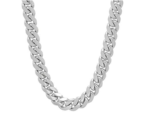 Verona Jewelers 925 Sterling Silver 6.5MM 7MM 9MM Italian Miami Cuban Necklace Chain, Thick Link Miami Cuban Necklace, Box Clasp Closure - 24-30 (26, 11MM)