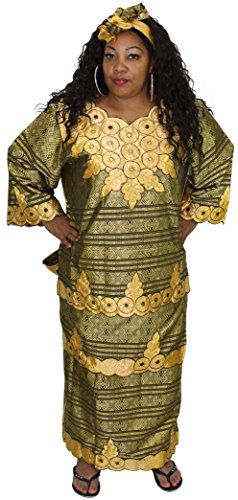 African Planet Women's Nigerian Queen 4 Piece Wrap around Skirt Set (Black Gold) by African Planet