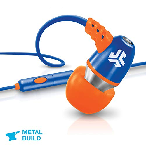 JLab Audio NEON Metal in-Ear Earbuds with Universal Mic for iPhone & Android, Guaranteed for Life - Blue/Orange