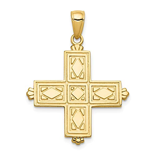 14k Yellow Gold Etched Square Cross Religious Crown Tips Pendant Charm Necklace Latin Fine Jewelry Gifts For Women For Her