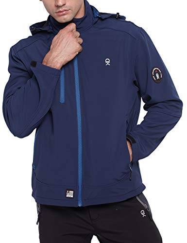 TOPSUN Mens Waterproof Softshell Jacket Fleece Lined with Detachable Hooded Inside Pockets Navy Size S ()
