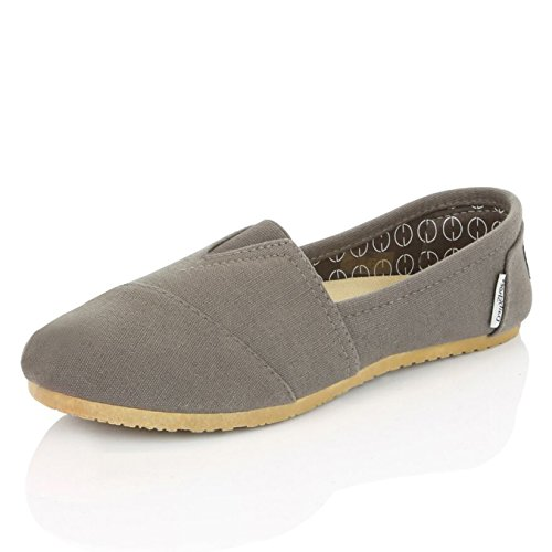 DailyShoes Women's Classic Flats Memory Foam Cushioned Elastic Gore Soft Canvas Daily Slip-On Comfort Loafer Casual Sneaker Flat Shoes, Charcoal Linen, 7.5 B(M) (Canvas Slip Ons Womens Shoes)