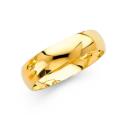 Wedding Band Solid 14k Yellow Gold Plain Ring Classic Dome Style High Polished Finish 6 mm Size 10 by ZenJewels