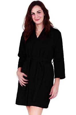 Soft Touch Linen Lightweight Knee-Length Waffle Kimono Robe, Bridesmaids and Spa Bathrobes