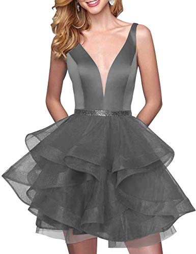 Grey Deep Neck Tiered Bridal Prom Short Steel Tulle Women's Dress Bess Homecoming Beaded V xIqOwEYfY