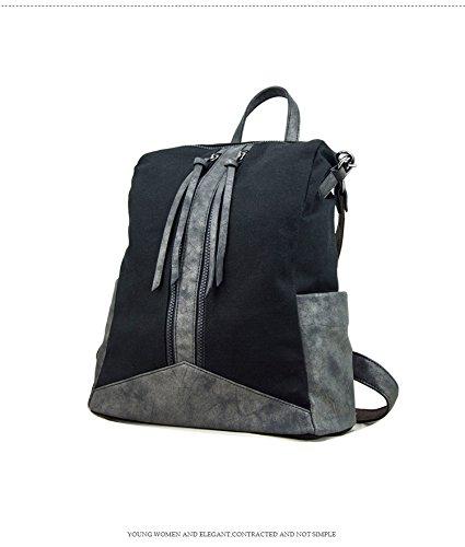 WTUS Mujer Europa y gran capacidad de bolsos de moda nueva hombros de bolsa de lona con Pu clásico negro