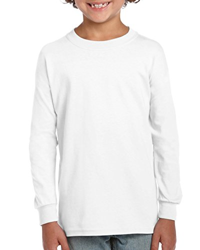 Gildan Kids' Little Ultra Cotton Youth Long Sleeve T-Shirt, 2-Pack, White, Small