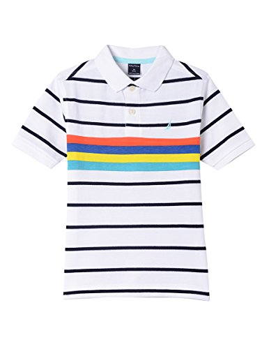- Nautica Boys' Little Short Sleeve Striped Deck Polo Shirt, Laguna White, 5/6