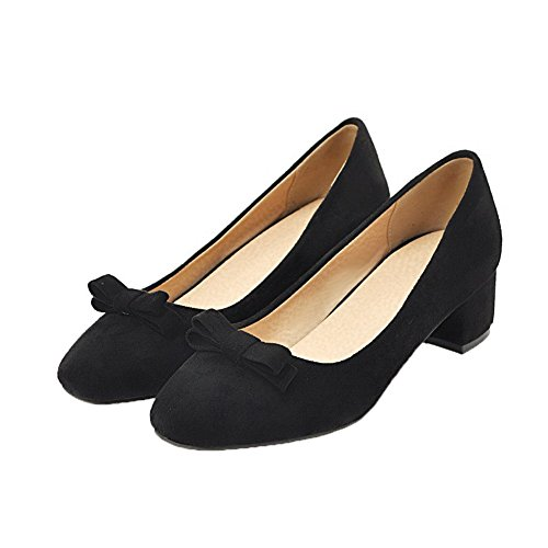 Odomolor Women's Square-Toe Frosted Pull-On Low-Heels Solid Court Shoes Black 3FcBId