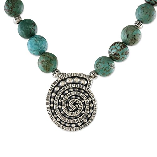 NOVICA Reconstituted Turquoise .925 Sterling Silver Beaded Necklace, 19.75