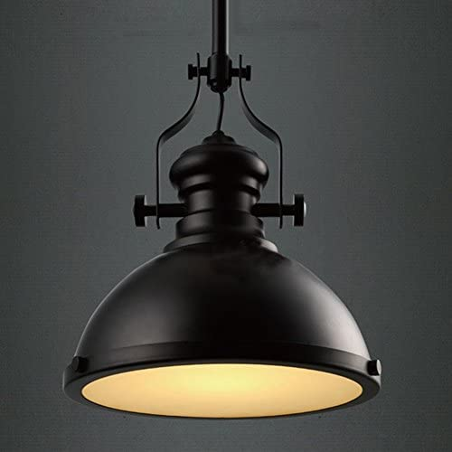 BAYCHEER Industrial Retro Iron Light Bulb Country Painting Large Pendant Light Fixture Ceiling Lamp Chandelier with E26 Light Bulb Socket Black Finish