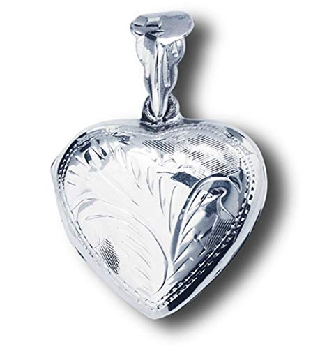 (Locket Heart Pendant .925 Sterling Silver Simple Filigree Etched Scalloped Charm Jewelry Making Supply Pendant Bracelet DIY Crafting by Wholesale Charms)