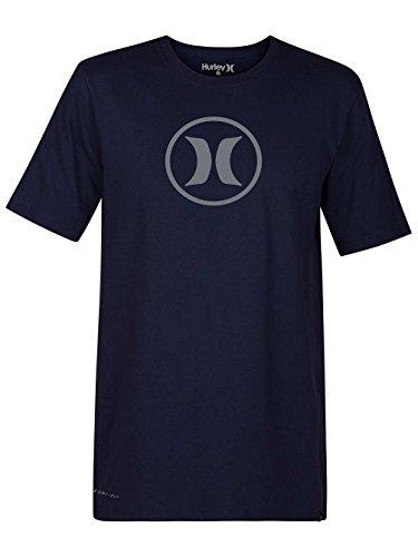 Hurley 892142 Men's T-Shirt Circle Icon Dri-Fit, Obsidian/(Cool Grey) - S