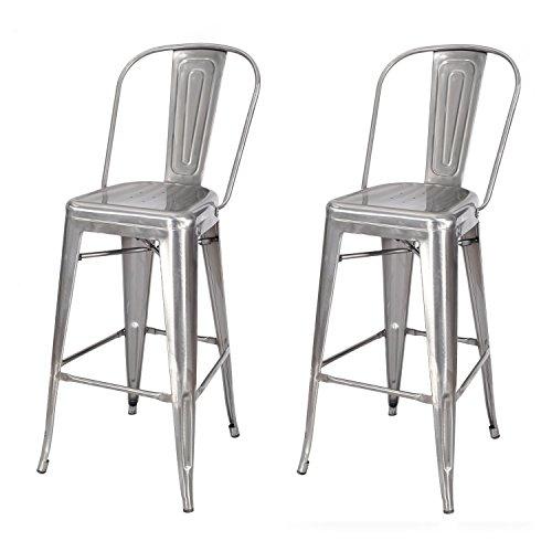 Bar Modern Stool Metallic - EDECO Tolix Industrial Style Bar Stools Stackable Metallic Finish Chair Set of 2 for Kitchen Living Room Indoor Outdoor Counter Stools (Gunmetal)