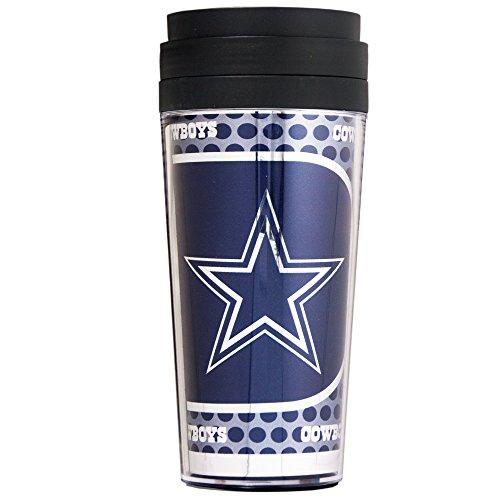 NFL Dallas Cowboys Acrylic Travel Tumbler with Metallic Graphics, 16 oz., (Dallas Cowboys Black Coffee Mug)