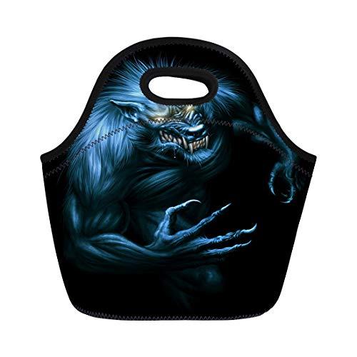Semtomn Neoprene Lunch Tote Bag Beast Werewolf Glowing Eyes Dark Digital Painting Fantasy Monster Reusable Cooler Bags Insulated Thermal Picnic Handbag for Travel,School,Outdoors, Work]()