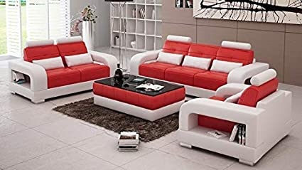 Best furnitures Designer Sofa Set for Living and Dining Hall 3+1+1+Center  Table Free(White & Red)