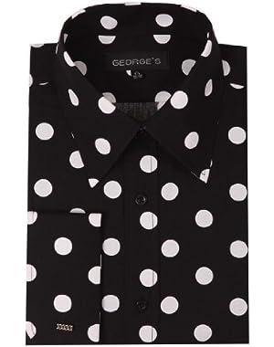 Men's 100% Polka Dot Shirt 17-17 1/2 34-35 Black