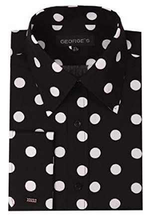 George's Men's 100% Cotton Big Polka Dot Pattern Shirt With French ...