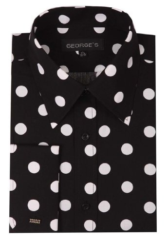 6f99305afd9 Amazon.com  George's Men's 100% Cotton Big Polka Dot Pattern Shirt with  French Cuff 16-16.  Clothing