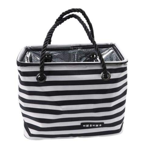 Simple Stripe Waterproof Wash Bag Bath Basket Outdoor Travel Storage Bag W (Colors - Black +White)