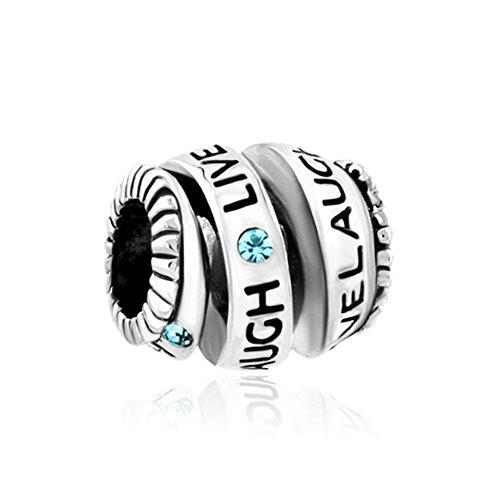 (ReisJewelry Live Love Laugh Charm Trinity Ring Spiral Charms Bead For Bracelet)