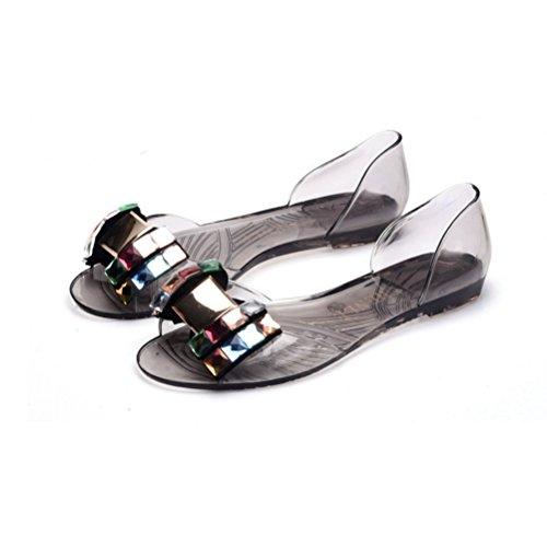 Femme Slides Shoes Flip Flop JRenok Beach gelée Toe Bowtie Noir Peep Flats Sandales PVC Crystal Transparent Sandales 5n6qAFPn