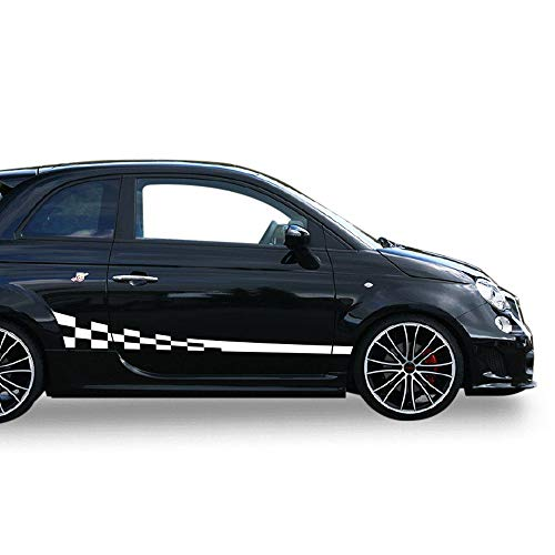 Bubbles Designs Decal Sticker Vinyl Side Wavy Finishing Stripe Kit Compatible with Fiat 500 Abarth 2007-2017 (White) (Best Exhaust For Abarth 500)