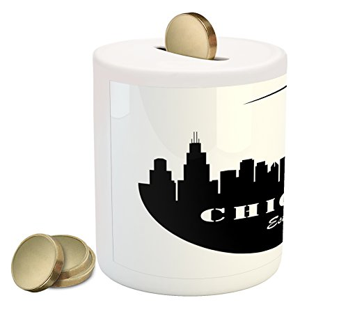 Cheap  Ambesonne Chicago Skyline Piggy Bank, American Town Famous Urban Design in Black..