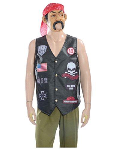 [Morris Costumes Halloween Party Biker Grab n Go Adult Costume] (Biker Halloween Costumes For Adults)