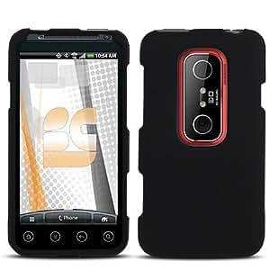 Amazon.com: Black Rubberized Hard Phone Cover for HTC EVO ...