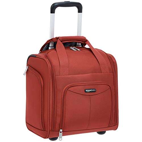 (AmazonBasics Underseat Carry On Rolling Travel Luggage Bag - Red)
