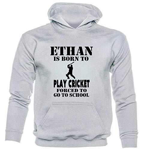 Print4U Hoodie Born to Play Cricket Ethan Personalised Age 9-11 Grey Black Text