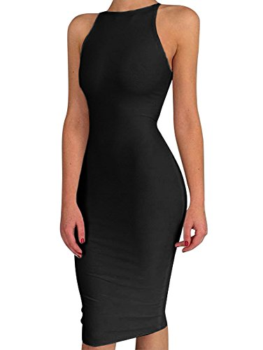 BEAGIMEG Women's Spaghetti Strap O Neck Bodycon Midi Club Party Dress Black