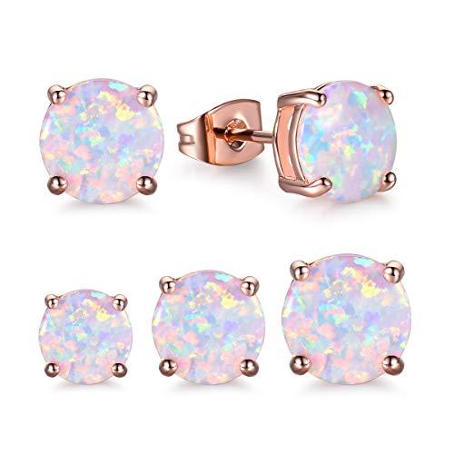 CERSLIMO 3 Pairs Opal Stud Earrings For Women 18K Rose Gold Plated Earings Girl 4mm/6mm/8mm ()
