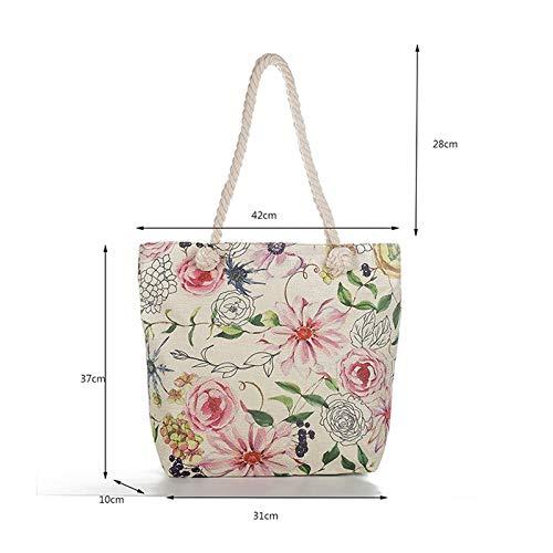 Bolsos Lino Shopper Mujer Flores Aikesi Tote De Bandolera Bolso Mariposas xz4Cpw4qE