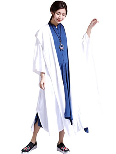 Mordenmiss Women's New Linen Drape Cloak Trenchcoat with Hood XL White (Xl Cape)