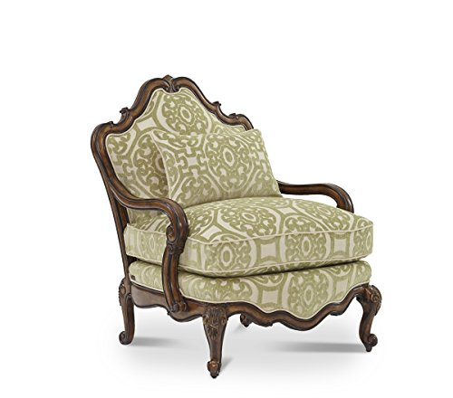 Bergere Chair Ottoman - Lavelle Melange Aico Amini Accent Chair or Ottoman (Celery Chair)