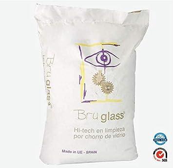 BruGlass Hi tech arena de vidrio técnico abrasivo para limpieza por chorro - Saco de 10 Kg