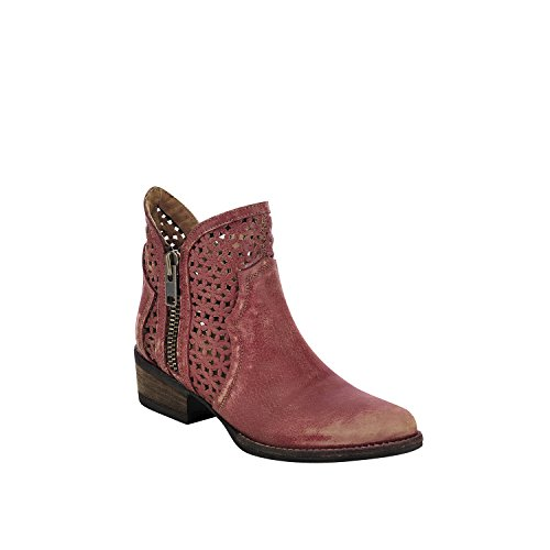 Corral Urban Women's Laser Cutout Distressed Red Leather Shortie Cowboy Boots