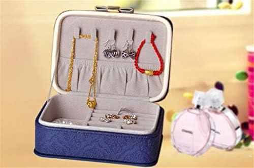 Baixing 王女の木製の宝石箱日本の宝石箱女性の革の宝石類の収納箱高級宝石箱 (Color : Blue)