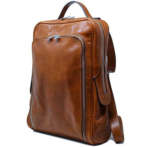 (Floto Milano Italian Leather Backpack Knapsack Satchel Men's or Women's Bag (Olive Honey Brown))